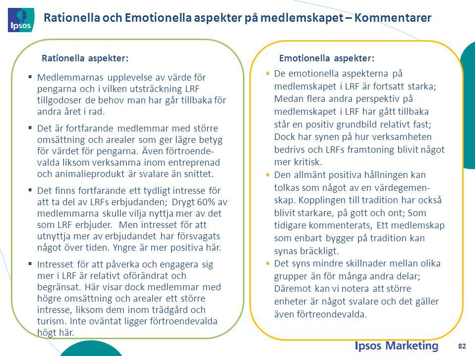 Rationella och Emotionella aspekter på medlemskapet – Kommentarer Rationella aspekter:  Medlemmarnas upplevelse av värde för pengarna och i vilken ut