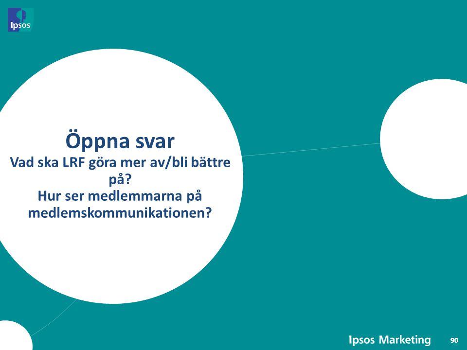 Öppna svar Vad ska LRF göra mer av/bli bättre på? Hur ser medlemmarna på medlemskommunikationen? 90
