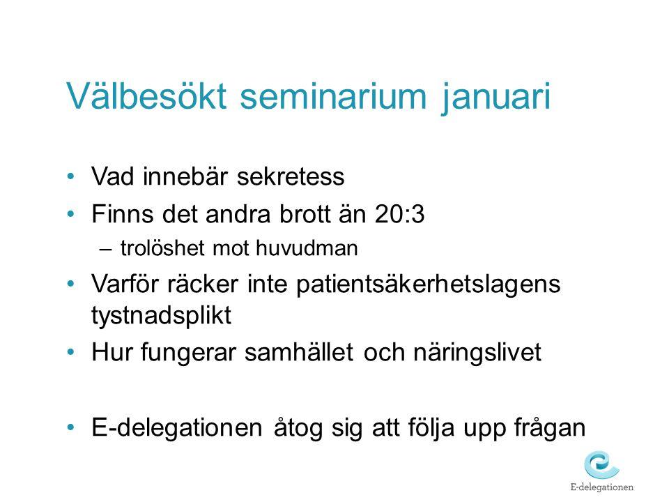 Välbesökt seminarium januari Vad innebär sekretess Finns det andra brott än 20:3 –trolöshet mot huvudman Varför räcker inte patientsäkerhetslagens tys
