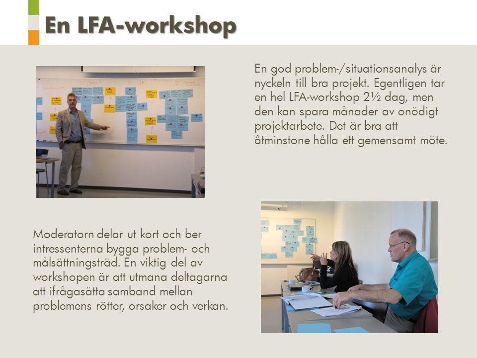 En LFA-workshop En god problem-/situationsanalys är nyckeln till bra projekt. Egentligen tar en hel LFA-workshop 2½ dag, men den kan spara månader av