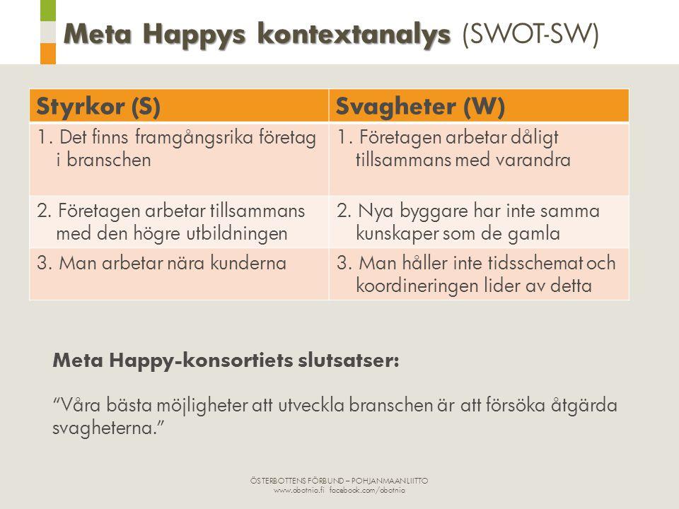 ÖSTERBOTTENS FÖRBUND – POHJANMAAN LIITTO www.obotnia.fi facebook.com/obotnia Meta Happys kontextanalys Meta Happys kontextanalys (SWOT-SW) Styrkor (S)