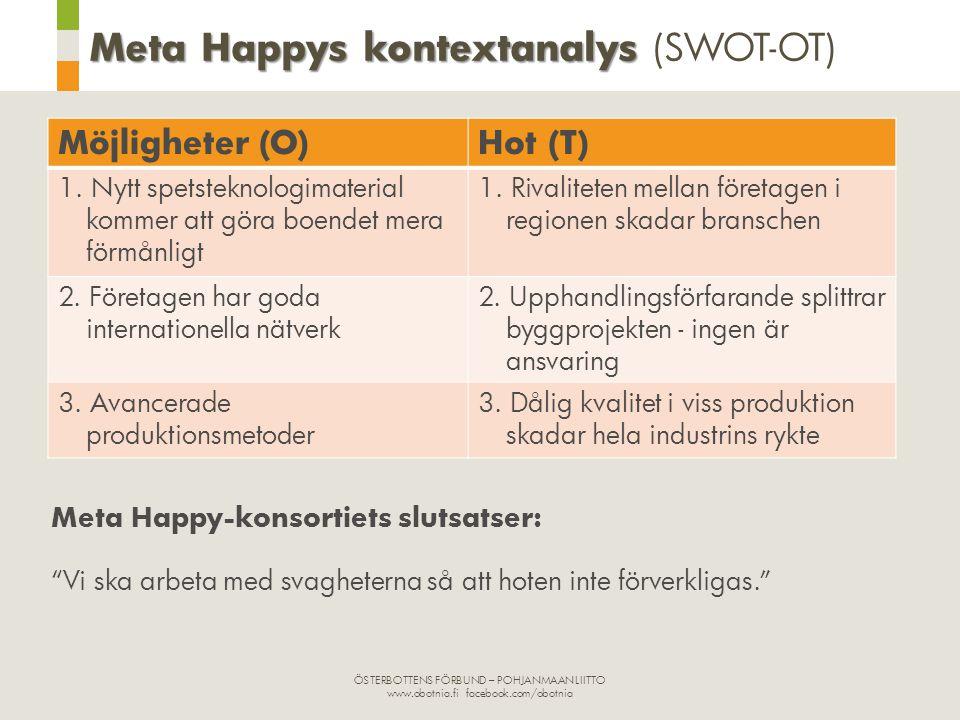 ÖSTERBOTTENS FÖRBUND – POHJANMAAN LIITTO www.obotnia.fi facebook.com/obotnia Meta Happys kontextanalys Meta Happys kontextanalys (SWOT-OT) Möjligheter