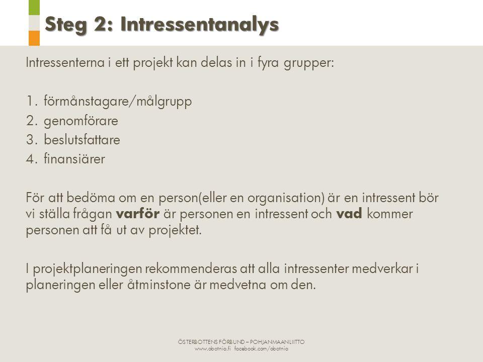 ÖSTERBOTTENS FÖRBUND – POHJANMAAN LIITTO www.obotnia.fi facebook.com/obotnia Steg 2: Intressentanalys Intressenterna i ett projekt kan delas in i fyra grupper: 1.förmånstagare/målgrupp 2.genomförare 3.beslutsfattare 4.finansiärer För att bedöma om en person(eller en organisation) är en intressent bör vi ställa frågan varför är personen en intressent och vad kommer personen att få ut av projektet.