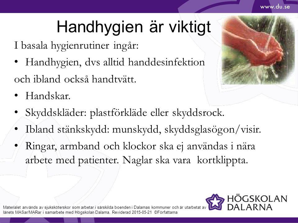 Materialet används av sjuksköterskor som arbetar i särskilda boenden i Dalarnas kommuner och är utarbetat av länets MASar/MARar i samarbete med Högskolan Dalarna.