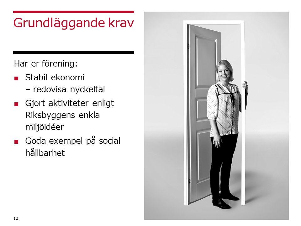 Grundläggande krav 12 Har er förening: ■ Stabil ekonomi – redovisa nyckeltal ■ Gjort aktiviteter enligt Riksbyggens enkla miljöidéer ■ Goda exempel på social hållbarhet