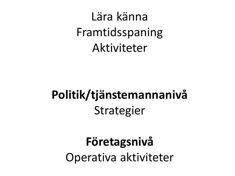 Lära känna Framtidsspaning Aktiviteter Politik/tjänstemannanivå Strategier Företagsnivå Operativa aktiviteter