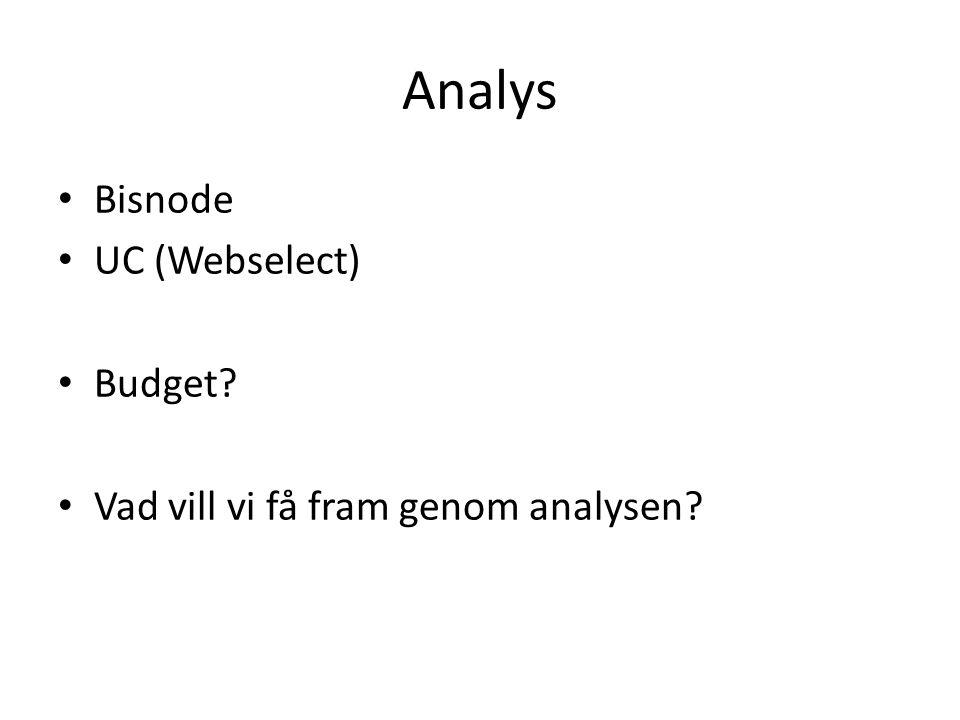 Analys Bisnode UC (Webselect) Budget? Vad vill vi få fram genom analysen?