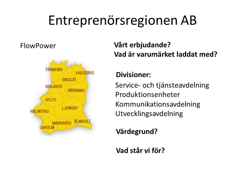 Divisioner: Värdegrund? Vad står vi för? FlowPower Vårt erbjudande? Vad är varumärket laddat med? Service- och tjänsteavdelning Produktionsenheter Kom