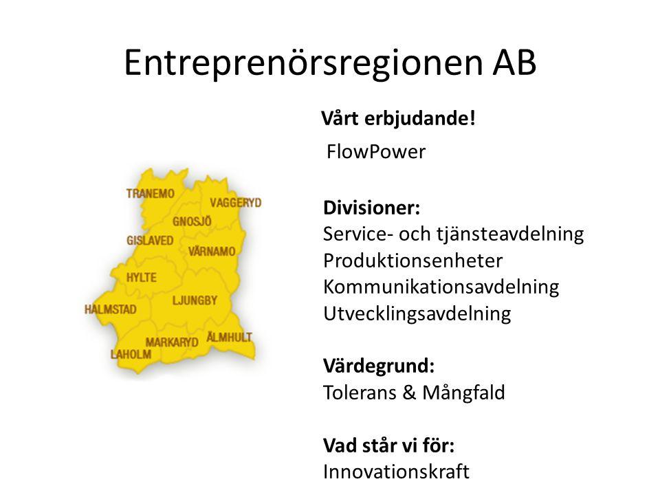 Divisioner: Service- och tjänsteavdelning Produktionsenheter Kommunikationsavdelning Utvecklingsavdelning Värdegrund: Tolerans & Mångfald Vad står vi för: Innovationskraft FlowPower Vårt erbjudande!