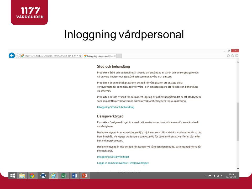 Inloggning vårdpersonal http://www.inera.se/TJANSTER--PROJEKT/Stod-och-behandling/