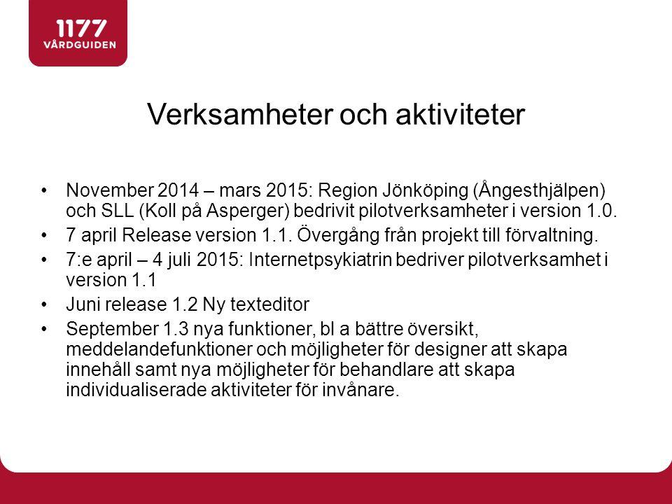 Verksamheter och aktiviteter November 2014 – mars 2015: Region Jönköping (Ångesthjälpen) och SLL (Koll på Asperger) bedrivit pilotverksamheter i version 1.0.