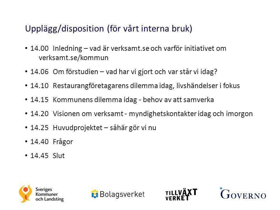 2 Upplägg/disposition (för vårt interna bruk) 14.00 Inledning – vad är verksamt.se och varför initiativet om verksamt.se/kommun 14.06Om förstudien – v