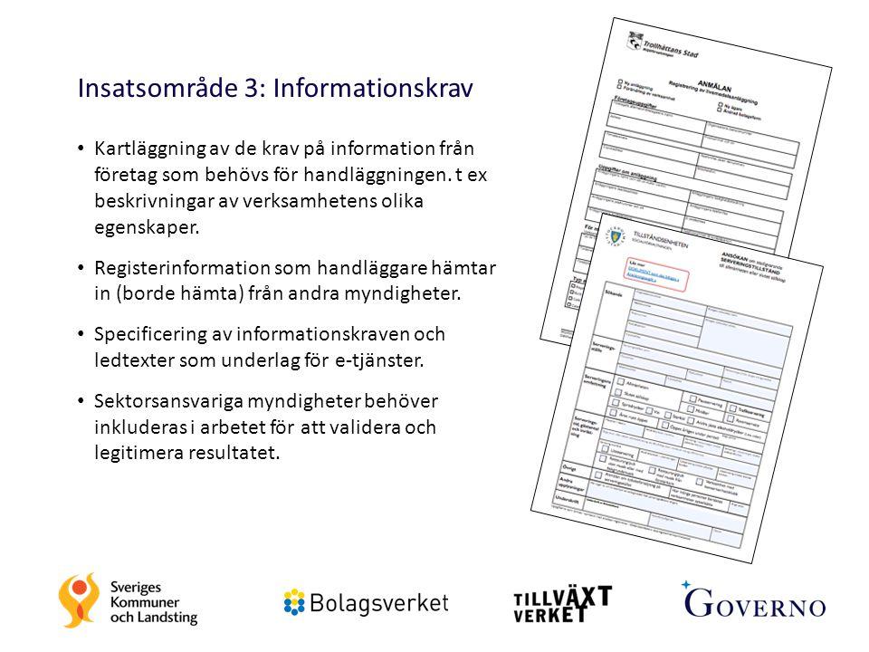22 Insatsområde 3: Informationskrav Kartläggning av de krav på information från företag som behövs för handläggningen. t ex beskrivningar av verksamhe