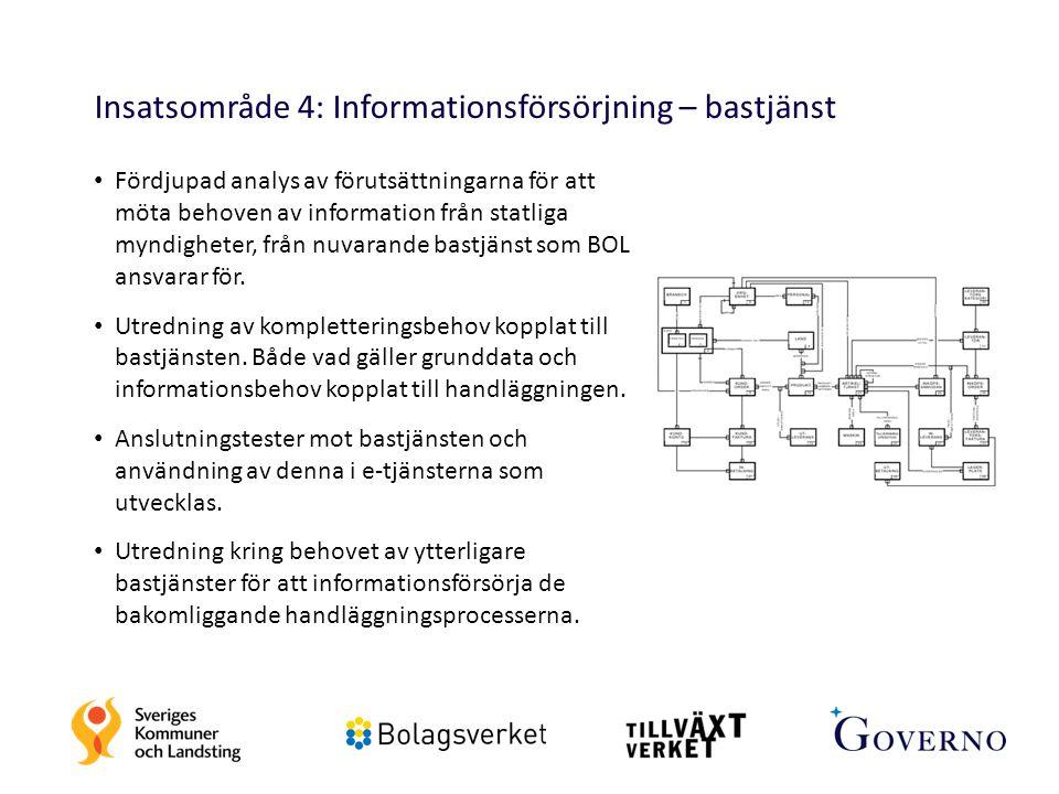 23 Insatsområde 4: Informationsförsörjning – bastjänst Fördjupad analys av förutsättningarna för att möta behoven av information från statliga myndigh