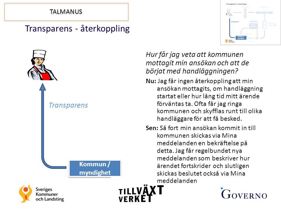 Transparens - återkoppling Transparens Kommun / myndighet Hur får jag veta att kommunen mottagit min ansökan och att de börjat med handläggningen? Nu: