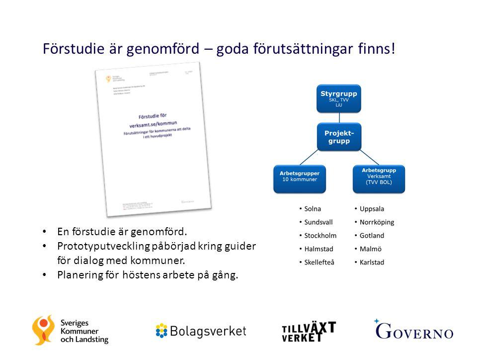 Förstudie är genomförd – goda förutsättningar finns! En förstudie är genomförd. Prototyputveckling påbörjad kring guider för dialog med kommuner. Plan