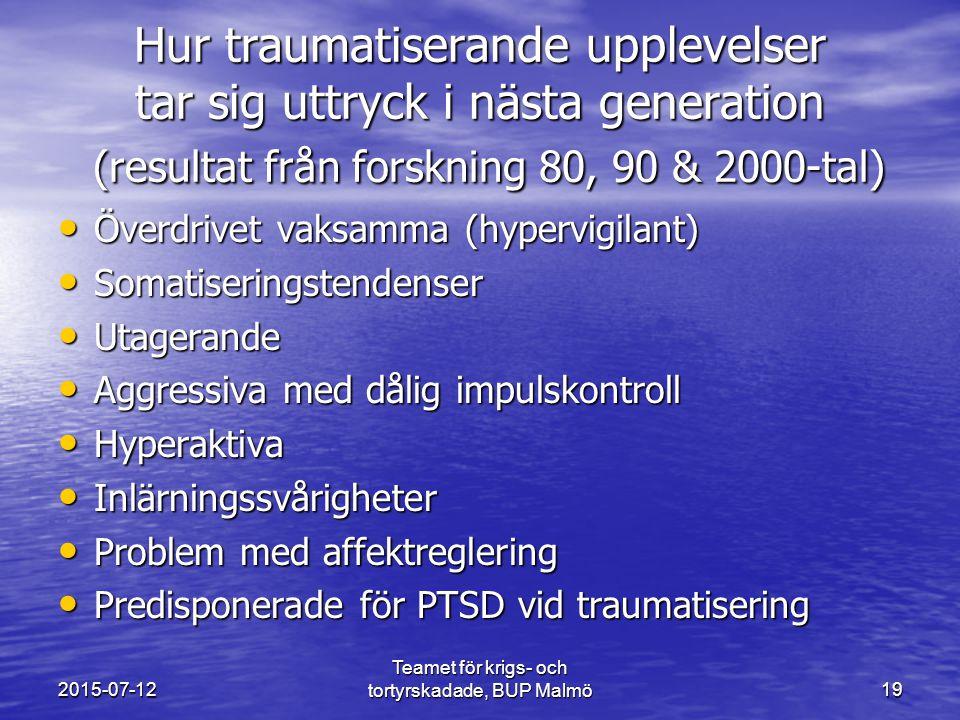 Teamet för krigs- och tortyrskadade, BUP Malmö19 Hur traumatiserande upplevelser tar sig uttryck i nästa generation (resultat från forskning 80, 90 & 2000-tal) Överdrivet vaksamma (hypervigilant) Överdrivet vaksamma (hypervigilant) Somatiseringstendenser Somatiseringstendenser Utagerande Utagerande Aggressiva med dålig impulskontroll Aggressiva med dålig impulskontroll Hyperaktiva Hyperaktiva Inlärningssvårigheter Inlärningssvårigheter Problem med affektreglering Problem med affektreglering Predisponerade för PTSD vid traumatisering Predisponerade för PTSD vid traumatisering 2015-07-12