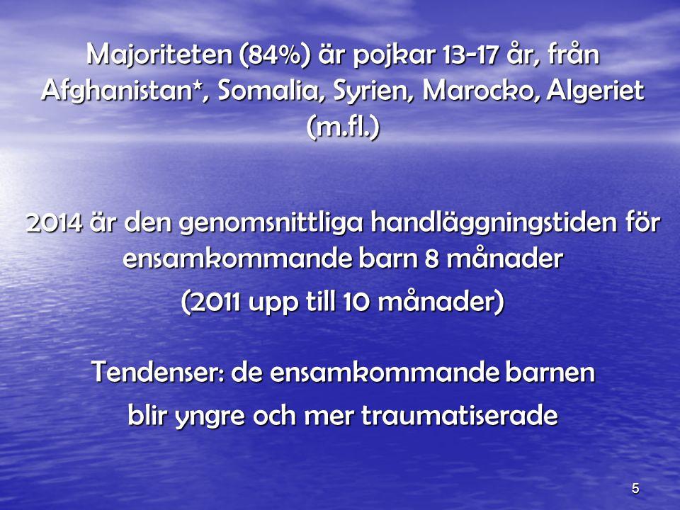 5 Majoriteten (84%) är pojkar 13-17 år, från Afghanistan*, Somalia, Syrien, Marocko, Algeriet (m.fl.) 2014 är den genomsnittliga handläggningstiden för ensamkommande barn 8 månader (2011 upp till 10 månader) Tendenser: de ensamkommande barnen blir yngre och mer traumatiserade
