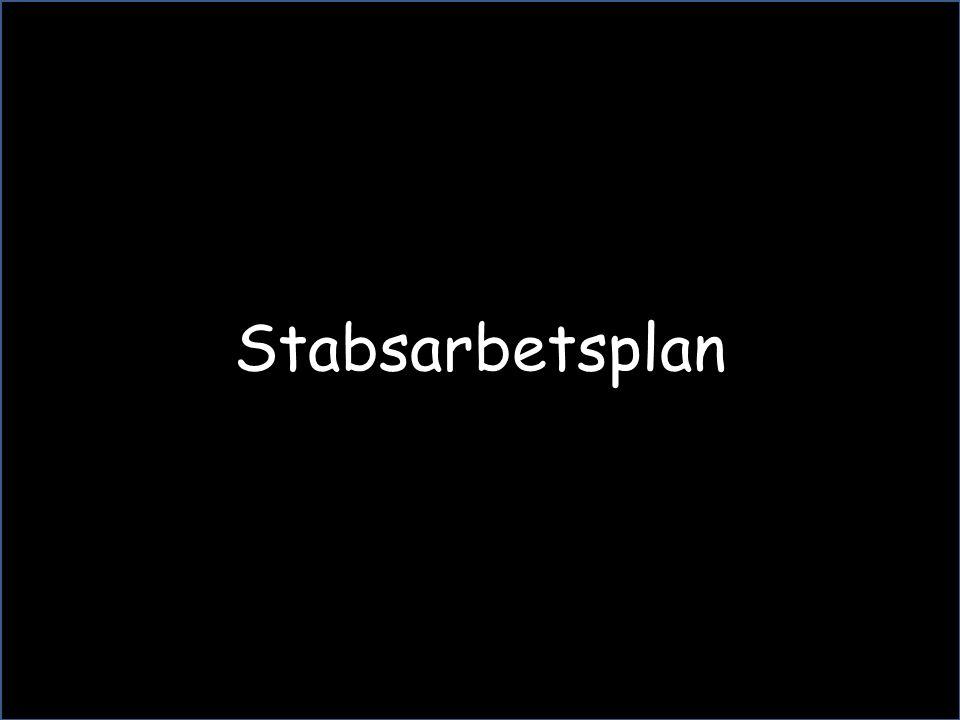 Stabsarbetsplanens syfte  Stabsarbetsplanen är ett verktyg för att på ett tydligt och visuellt sätt förmedla beslut, tider, prioriteringar och andra för staben viktiga händelser till samtliga medlemmar i staben.