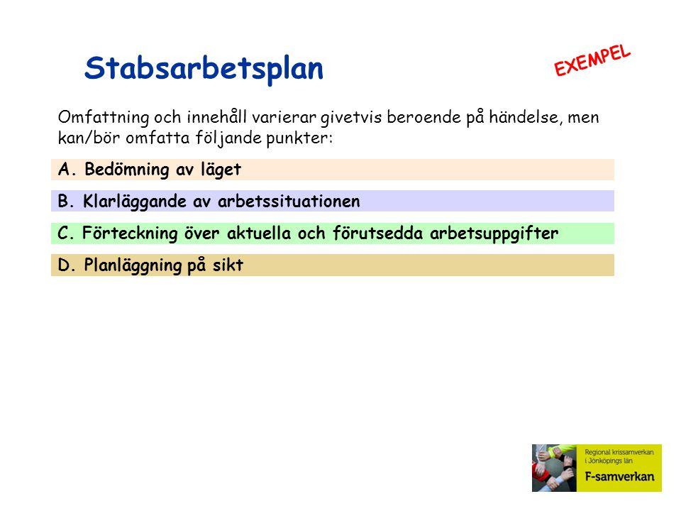Stabsarbetsplan A.Bedömning av läget Läget i stort (samlad lägesbild).