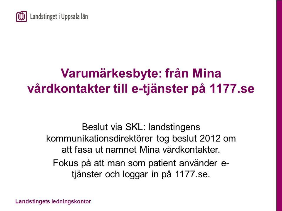 Landstingets ledningskontor Varumärkesbyte: från Mina vårdkontakter till e-tjänster på 1177.se Beslut via SKL: landstingens kommunikationsdirektörer t