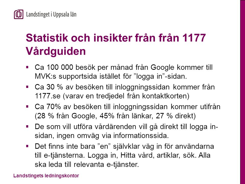 Landstingets ledningskontor Statistik och insikter från från 1177 Vårdguiden  Ca 100 000 besök per månad från Google kommer till MVK:s supportsida is