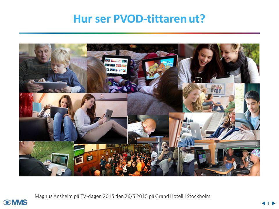PVOD SVOD Vecko- räckvidd Dygns- räckvidd AVOD Vecko- och dygnsräckvidd (9-99 år) 12% 4% PVOD jämfört SVOD och AVOD Källa: Trend & Tema 2015:1 27% 15% 50% 24%