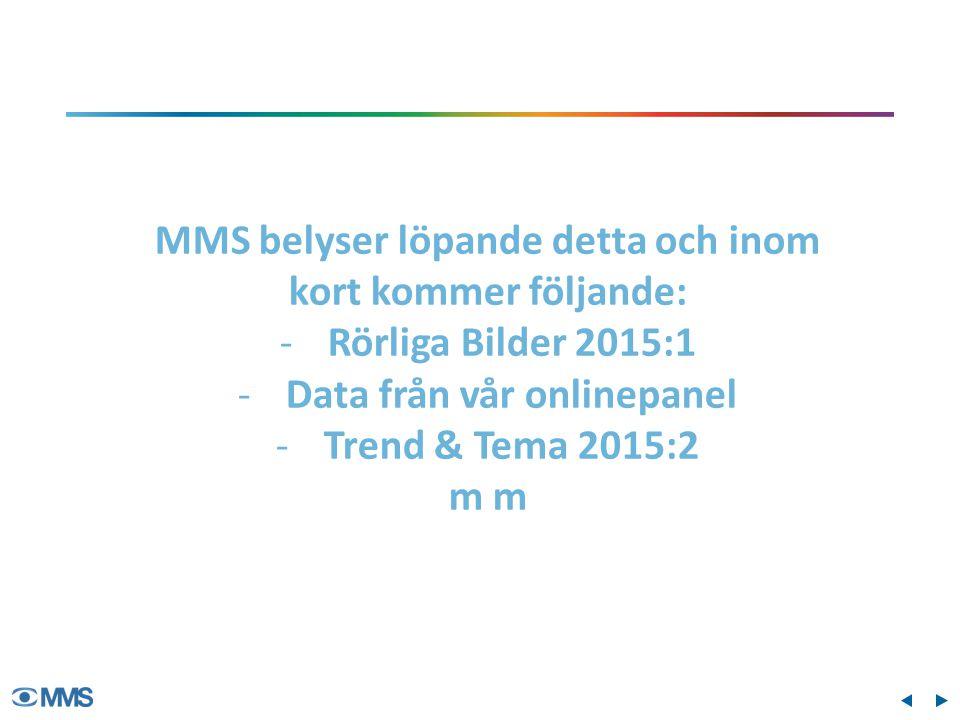 MMS belyser löpande detta och inom kort kommer följande: -Rörliga Bilder 2015:1 -Data från vår onlinepanel -Trend & Tema 2015:2 m