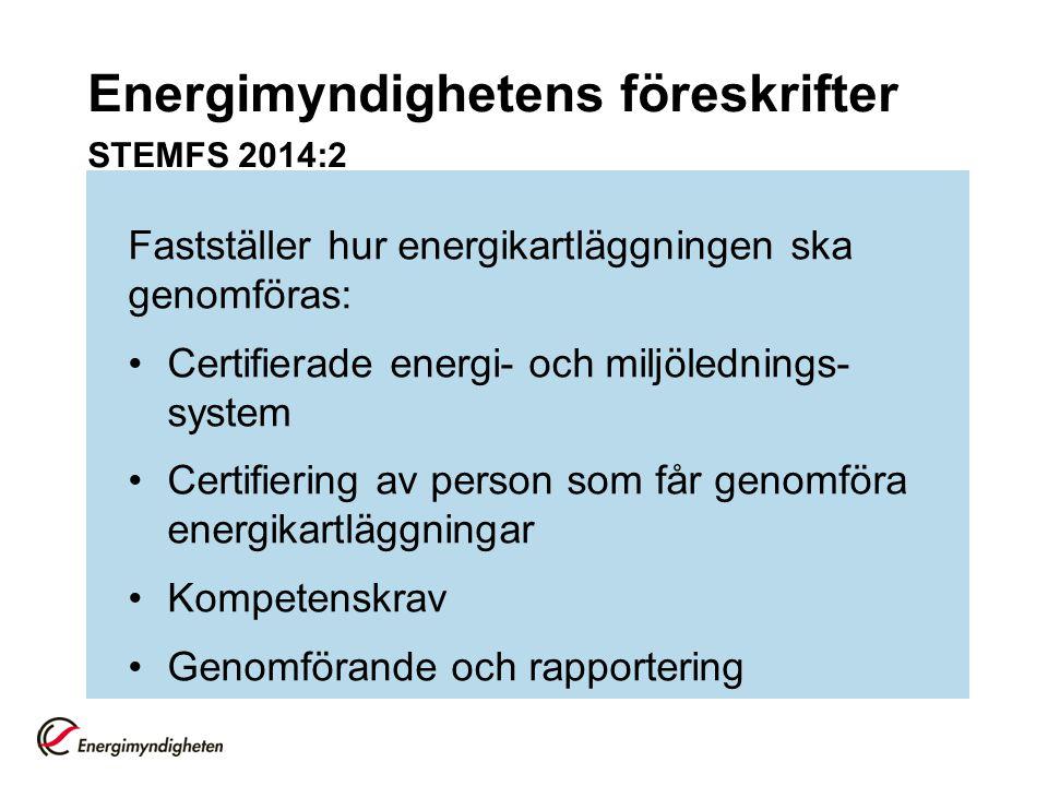 Energimyndighetens föreskrifter STEMFS 2014:2 Fastställer hur energikartläggningen ska genomföras: Certifierade energi- och miljölednings- system Cert