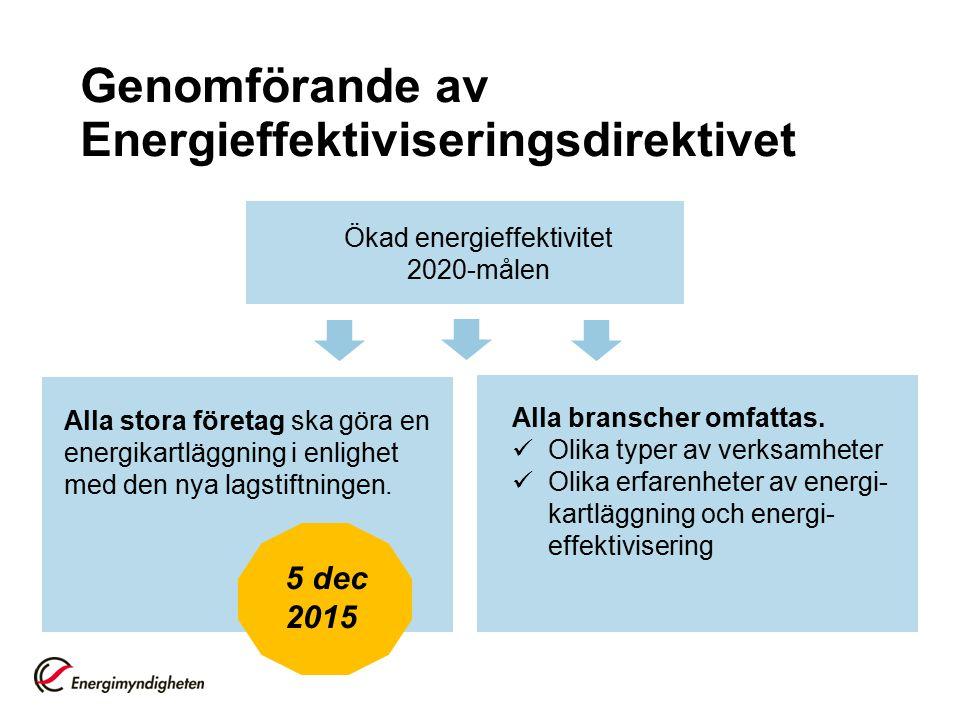 Genomförande av Energieffektiviseringsdirektivet Ökad energieffektivitet 2020-målen Alla stora företag ska göra en energikartläggning i enlighet med d