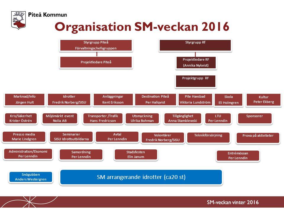 Sammankallande för SM-veckans kulturgrupp Ansvar för att samordna alla kulturaktiviteter under SM-veckan Ansvar för att ta fram ett kulturprogram för SM-veckan Ansvar för att marknadsföra/informera om kulturprogrammet.