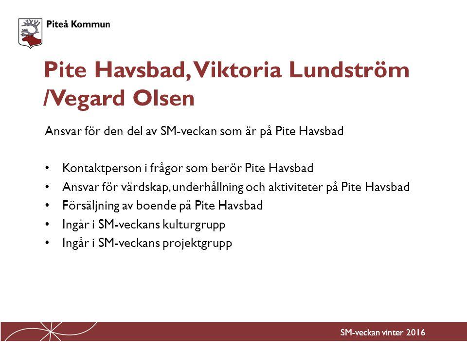 Ansvar för den del av SM-veckan som är på Pite Havsbad Kontaktperson i frågor som berör Pite Havsbad Ansvar för värdskap, underhållning och aktivitete