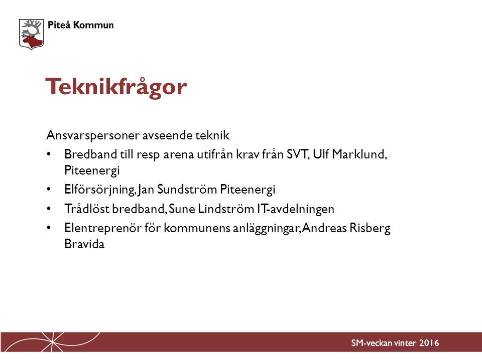 Ansvarspersoner avseende teknik Bredband till resp arena utifrån krav från SVT, Ulf Marklund, Piteenergi Elförsörjning, Jan Sundström Piteenergi Trådl