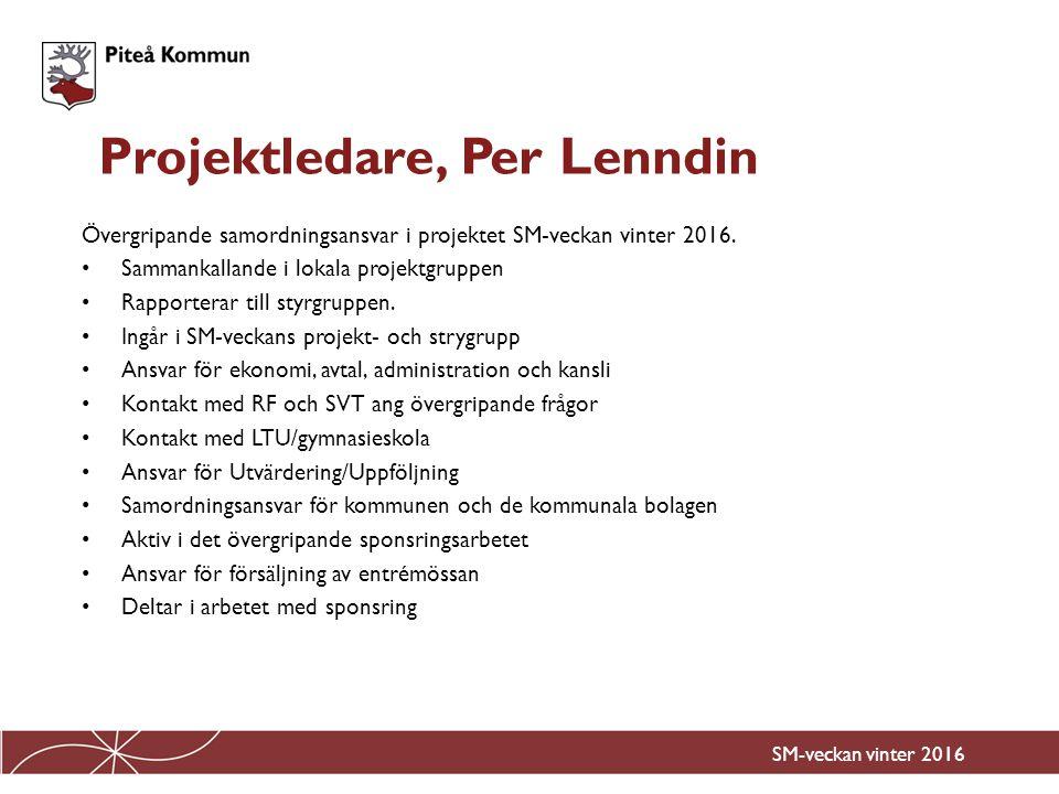 Sammankallande för SM-veckans utsmyckningsgrupp Ansvar för utsmyckning, belysning under SM-veckan för att det ska synas i Piteå C redan från oktober 2015 att SM-veckan kommer till Piteå.