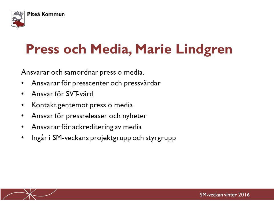 Ansvarar och samordnar press o media. Ansvarar för presscenter och pressvärdar Ansvar för SVT-värd Kontakt gentemot press o media Ansvar för pressrele