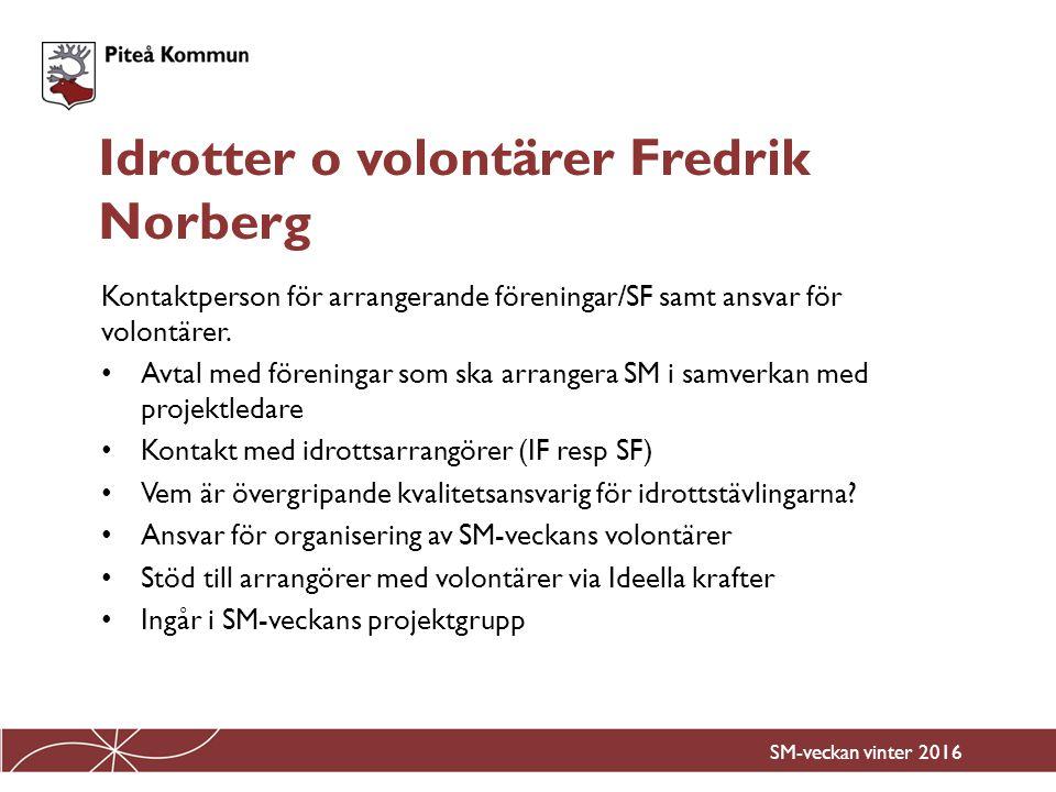 Kontaktperson för arrangerande föreningar/SF samt ansvar för volontärer. Avtal med föreningar som ska arrangera SM i samverkan med projektledare Konta