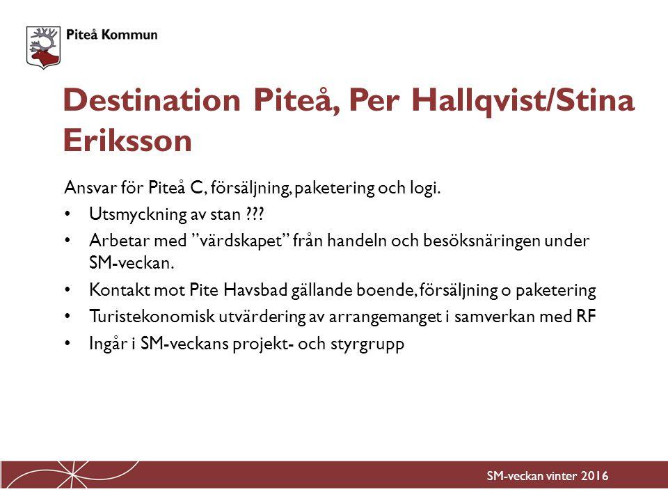 Ansvar på uppdrag av Destination Piteå för Stadsfesten under SM- veckan Utsmyckning av stan Aktiviteter på stan Marknad på stan Underhållning på stan i samverkan med kulturgruppen.