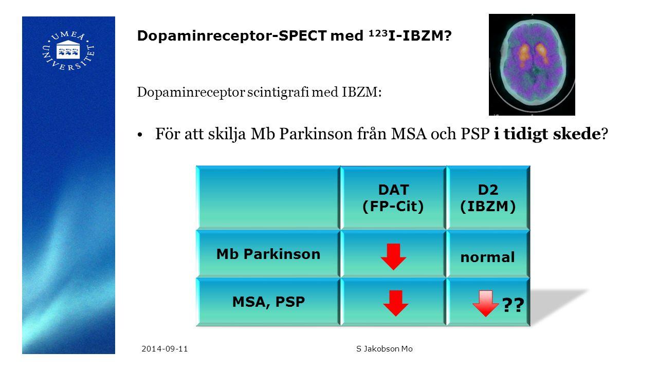 Dopaminreceptor-SPECT med 123 I-IBZM? Dopaminreceptor scintigrafi med IBZM: För att skilja Mb Parkinson från MSA och PSP i tidigt skede? normal 2014-0
