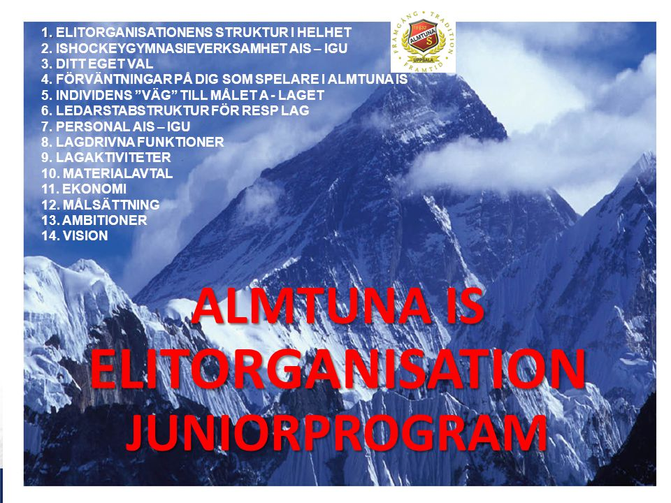 ALMTUNA IS ELITORGANISATION JUNIORPROGRAM 1. 1. ELITORGANISATIONENS STRUKTUR I HELHET 2.