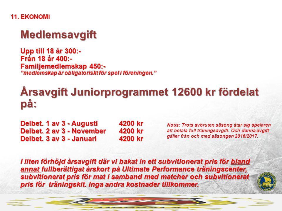 Medlemsavgift Upp till 18 år 300:- Från 18 år 400:- Familjemedlemskap 450:- medlemskap är obligatoriskt för spel i föreningen. Årsavgift Juniorprogrammet 12600 kr fördelat på: Delbet.