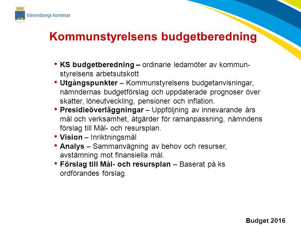 Budget 2016 KS budgetberedning – ordinarie ledamöter av kommun- styrelsens arbetsutskott Utgångspunkter – Kommunstyrelsens budgetanvisningar, nämndernas budgetförslag och uppdaterade prognoser över skatter, löneutveckling, pensioner och inflation.