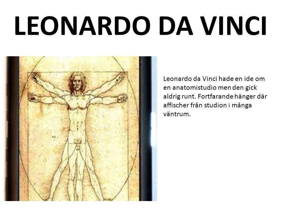 Leonardo da Vinci hade en ide om en anatomistudio men den gick aldrig runt. Fortfarande hänger där affischer från studion i många väntrum. LEONARDO DA
