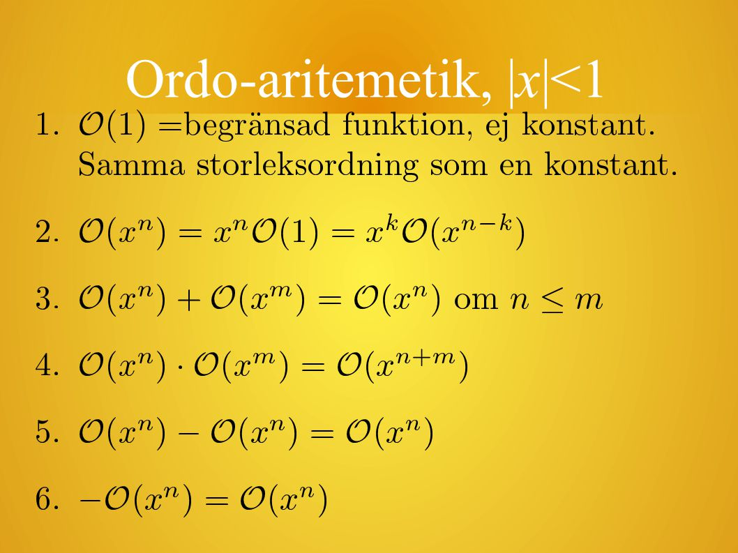 Ordo-aritemetik,  x <1