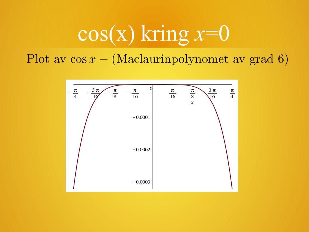 Taylors formel Hur får vi till motsvarande formel nära en godtycklig punkt x=a.