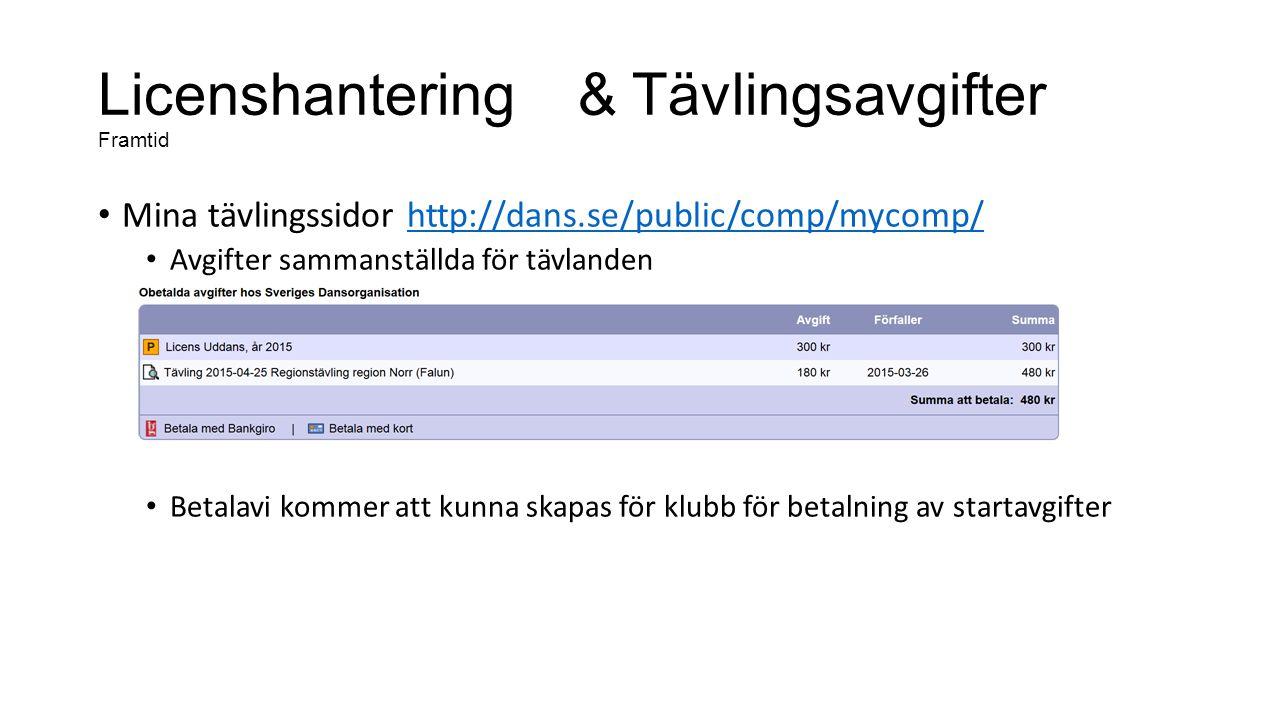 Licenshantering& Tävlingsavgifter Framtid Mina tävlingssidor http://dans.se/public/comp/mycomp/http://dans.se/public/comp/mycomp/ Avgifter sammanställda för tävlanden Betalavi kommer att kunna skapas för klubb för betalning av startavgifter