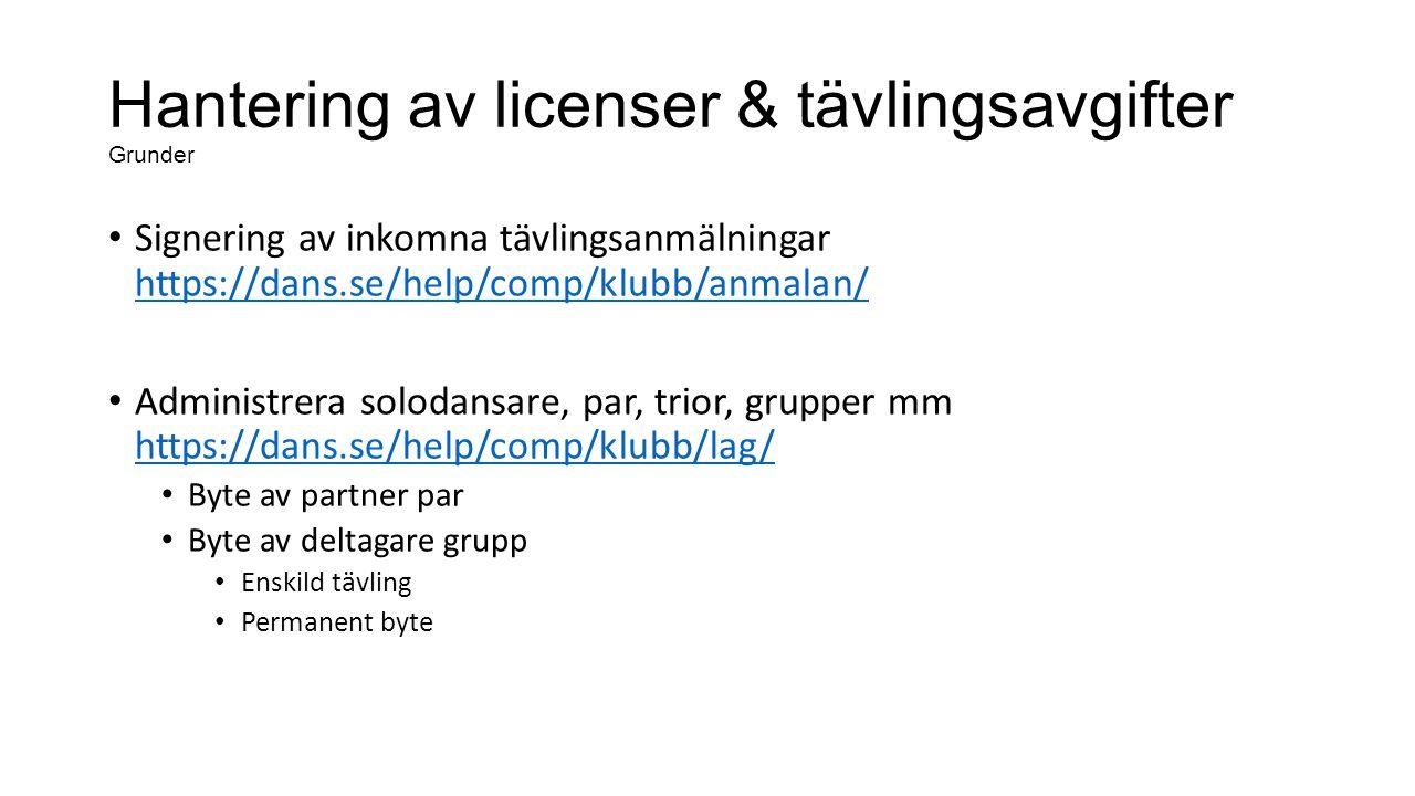 Hantering av licenser & tävlingsavgifter Grunder Signering av inkomna tävlingsanmälningar https://dans.se/help/comp/klubb/anmalan/ https://dans.se/help/comp/klubb/anmalan/ Administrera solodansare, par, trior, grupper mm https://dans.se/help/comp/klubb/lag/ https://dans.se/help/comp/klubb/lag/ Byte av partner par Byte av deltagare grupp Enskild tävling Permanent byte