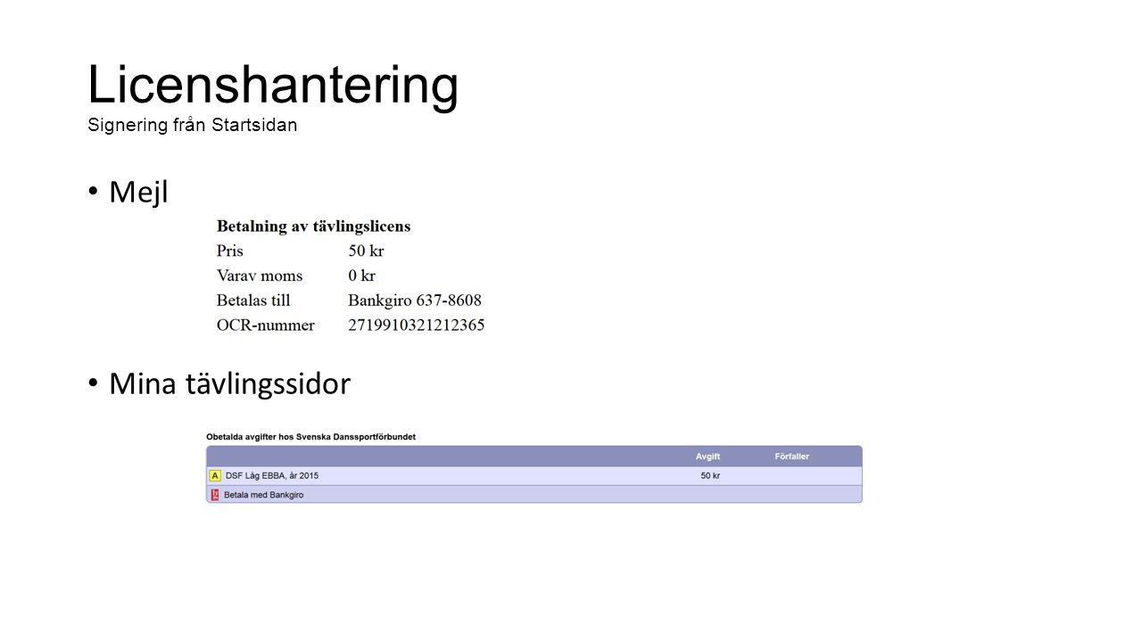 Licenshantering Signering från Startsidan Mejl Mina tävlingssidor