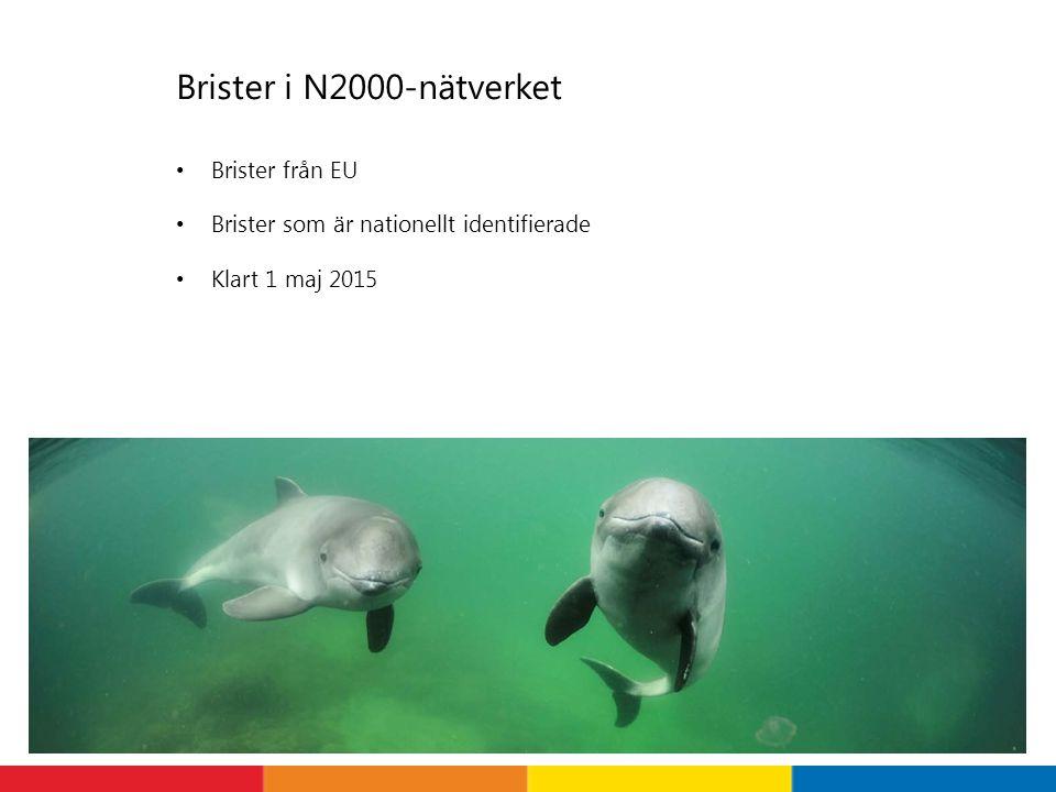 Brister i N2000-nätverket Brister från EU Brister som är nationellt identifierade Klart 1 maj 2015