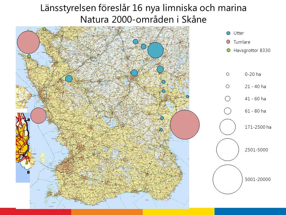 Länsstyrelsen föreslår 16 nya limniska och marina Natura 2000-områden i Skåne Utter 171-2500 ha 21 - 40 ha 41 - 60 ha 61 - 80 ha 0-20 ha Tumlare 2501-