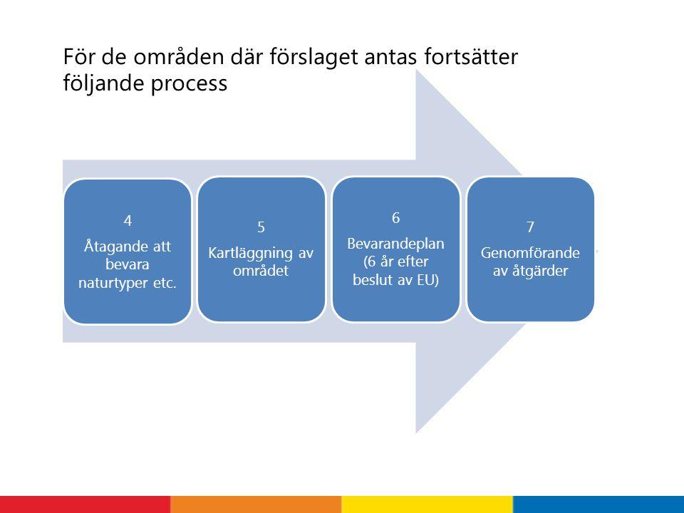 4 Åtagande att bevara naturtyper etc. 6 Bevarandeplan (6 år efter beslut av EU) 5 Kartläggning av området 7 Genomförande av åtgärder För de områden dä